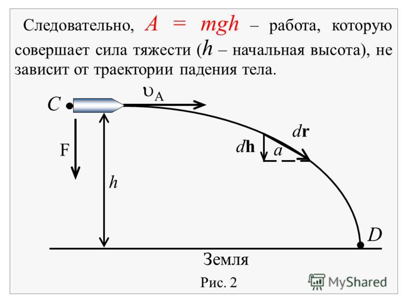 Следовательно, A = mgh – работа, которую совершает сила тяжести ( h – начальная высота), не зависит от траектории падения тела. Рис. 2 Земля F С D a drdr dhdh A h