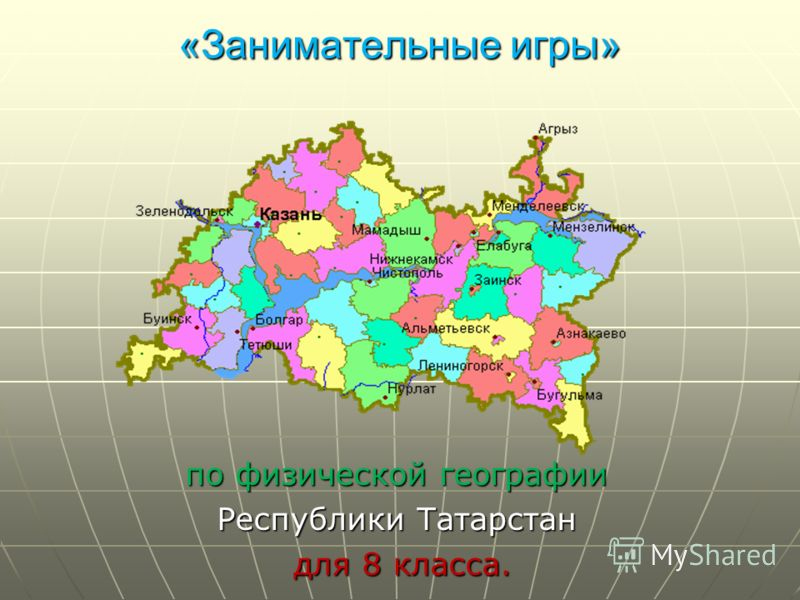 «Занимательные игры» «Занимательные игры» по физической географии Республики Татарстан для 8 класса. для 8 класса.