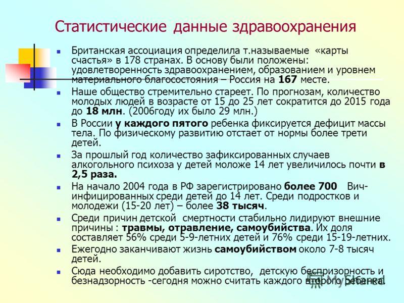 Статистические данные здравоохранения Британская ассоциация определила т.называемые «карты счастья» в 178 странах. В основу были положены: удовлетворенность здравоохранением, образованием и уровнем материального благосостояния – Россия на 167 месте.