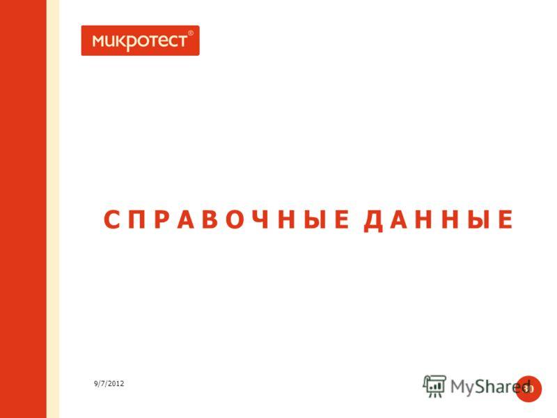 9/7/2012 30 C П Р А В О Ч Н Ы Е Д А Н Н Ы Е