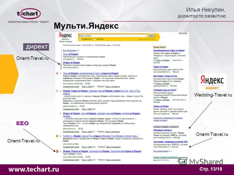 Илья Никулин, директор по развитию Стр. 13/18 Мульти.Яндекс Orient-Travel.ru SEO Orient-Travel.ru Wedding-Travel.ru