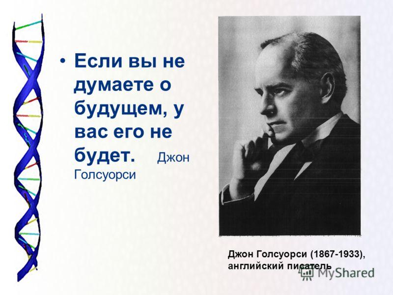 Если вы не думаете о будущем, у вас его не будет. Джон Голсуорси Джон Голсуорси (1867-1933), английский писатель