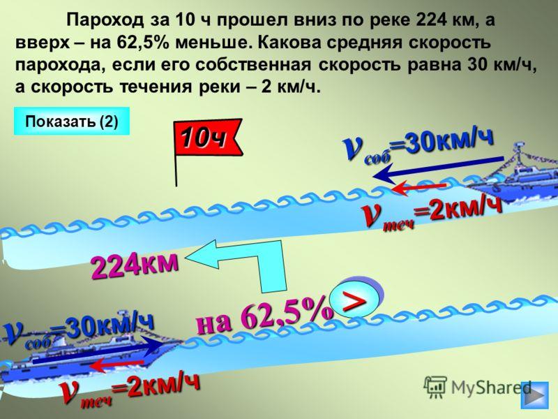 v соб = 30км/ч на 62,5% на 62,5% >> 224км Показать (2) Пароход за 10 ч прошел вниз по реке 224 км, а вверх – на 62,5% меньше. Какова средняя скорость парохода, если его собственная скорость равна 30 км/ч, а скорость течения реки – 2 км/ч. v теч = 2км
