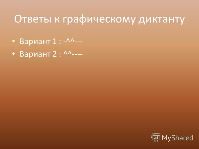 Ответы к графическому диктанту Вариант 1 : -^^--- Вариант 2 : ^^----