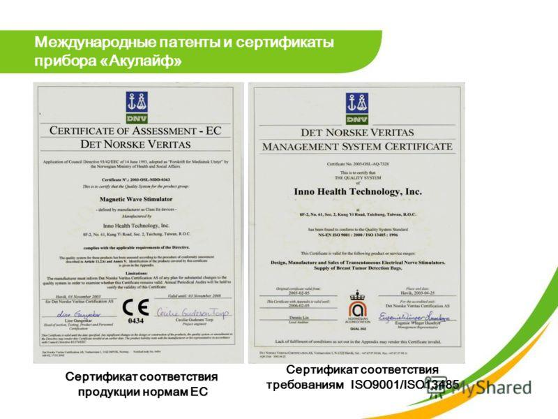 Сертификат соответствия продукции нормам ЕС Сертификат соответствия требованиям ISO9001/ISO13485 Международные патенты и сертификаты прибора «Акулайф»