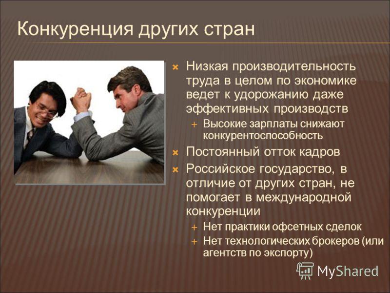 Конкуренция других стран Низкая производительность труда в целом по экономике ведет к удорожанию даже эффективных производств Высокие зарплаты снижают конкурентоспособность Постоянный отток кадров Российское государство, в отличие от других стран, не