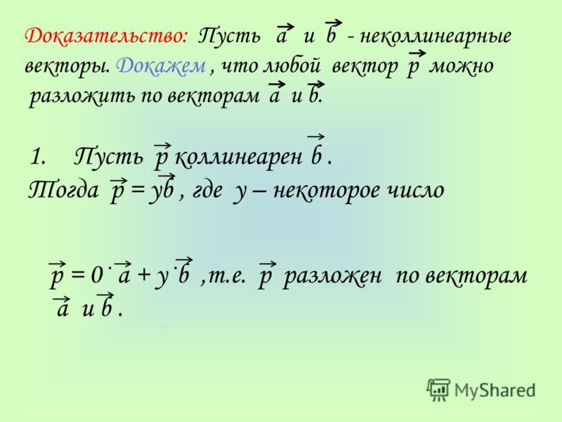 Доказательство: Пусть а и b - неколлинеарные векторы. Докажем, что любой вектор р можно разложить по векторам а и b. 1.Пусть р коллинеарен b. Тогда р = уb, где у – некоторое число р = 0· а + у·b,т.е. р разложен по векторам а и b.