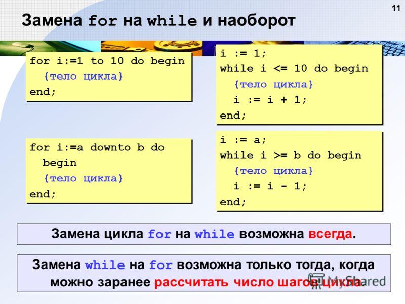 11 Замена for на while и наоборот for i:=1 to 10 do begin {тело цикла} end; for i:=1 to 10 do begin {тело цикла} end; i := 1; while i = b do begin {тело цикла} i := i - 1; end; Замена while на for возможна только тогда, когда можно заранее рассчитать
