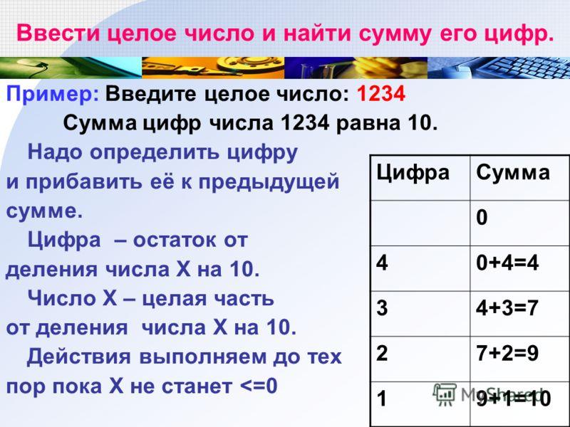 Ввести целое число и найти сумму его цифр. Пример: Введите целое число: 1234 Сумма цифр числа 1234 равна 10. Надо определить цифру и прибавить её к предыдущей сумме. Цифра – остаток от деления числа Х на 10. Число X – целая часть от деления числа Х н