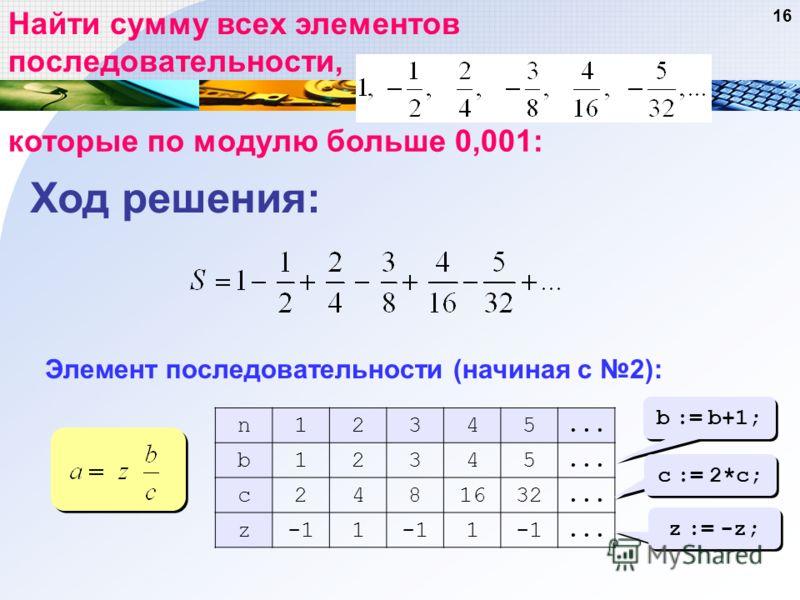 16 Найти сумму всех элементов последовательности, которые по модулю больше 0,001: Элемент последовательности (начиная с 2): n12345... b12345 c2481632... z1 1... b := b+1; c := 2*c; z := -z; Ход решения:
