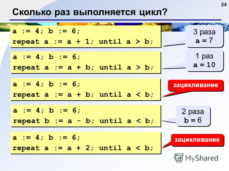 24 Сколько раз выполняется цикл? a := 4; b := 6; repeat a := a + 1; until a > b; a := 4; b := 6; repeat a := a + 1; until a > b; 3 раза a = 7 3 раза a = 7 a := 4; b := 6; repeat a := a + b; until a > b; a := 4; b := 6; repeat a := a + b; until a > b;