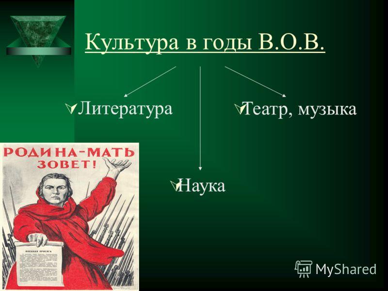 Культура в годы В.О.В. Литература Театр, музыка Наука