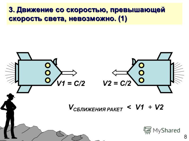 8 3. Движение со скоростью, превышающей скорость света, невозможно. (1) V1 = С/2 V2 = С/2 V СБЛИЖЕНИЯ РАКЕТ < V1 + V2