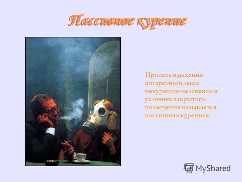 Пассивное курение Пассивное курение Процесс вдыхания сигаретного дыма некурящим человеком в условиях закрытого помещения называется пассивным курением