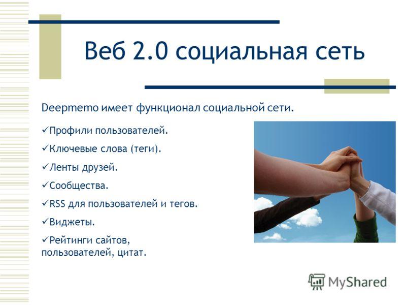 Веб 2.0 социальная сеть Deepmemo имеет функционал социальной сети. Профили пользователей. Ключевые слова (теги). Ленты друзей. Сообщества. RSS для пользователей и тегов. Виджеты. Рейтинги сайтов, пользователей, цитат.