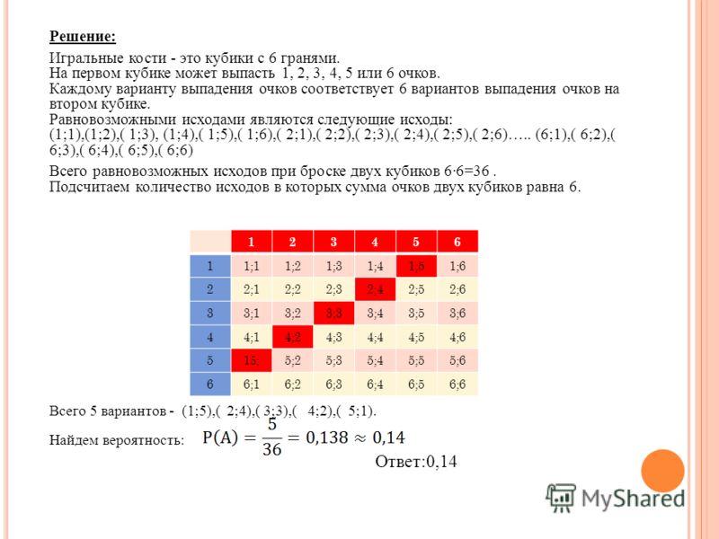 Решение: Игральные кости - это кубики с 6 гранями. На первом кубике может выпасть 1, 2, 3, 4, 5 или 6 очков. Каждому варианту выпадения очков соответствует 6 вариантов выпадения очков на втором кубике. Равновозможными исходами являются следующие исхо