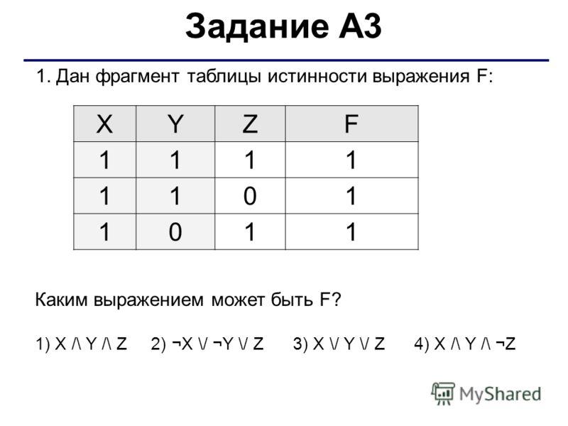 1. Дан фрагмент таблицы истинности выражения F: XYZF 1111 1101 1011 Каким выражением может быть F? 1) X /\ Y /\ Z 2) ¬X \/ ¬Y \/ Z 3) X \/ Y \/ Z 4) X /\ Y /\ ¬Z Задание А3