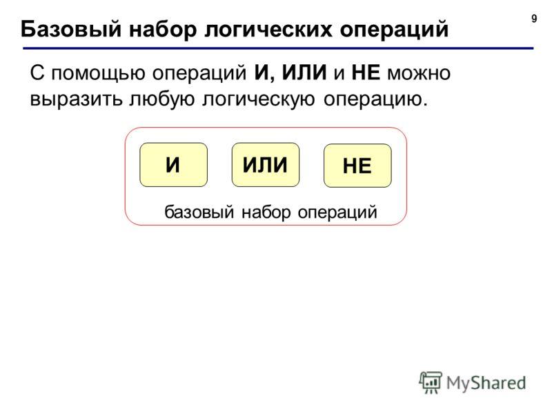 9 Базовый набор логических операций С помощью операций И, ИЛИ и НЕ можно выразить любую логическую операцию. ИЛИИ НЕ базовый набор операций