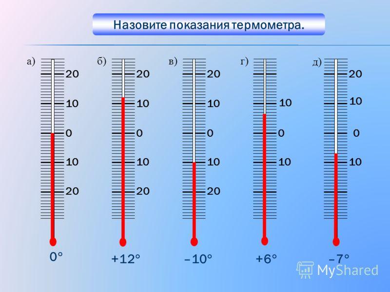 0 20 10 0 20 10 0 20 10 0 20 10 0 +12 –10 +6 –7 а)б)в)г) д) 0 Назовите показания термометра.