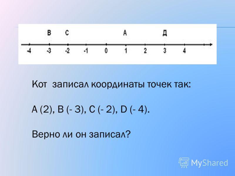 Кот записал координаты точек так: А (2), В (- 3), С (- 2), D (- 4). Верно ли он записал?