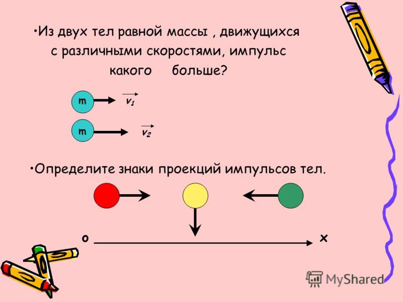Из двух тел равной массы, движущихся с различными скоростями, импульс какого больше? v1v1 v2v2 m m Определите знаки проекций импульсов тел. xo
