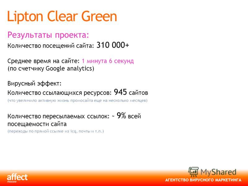 АГЕНТСТВО ВИРУСНОГО МАРКЕТИНГА Lipton Clear Green Результаты проекта: Количество посещений сайта: 310 000+ Среднее время на сайте: 1 минута 6 секунд (по счетчику Google analytics) Вирусный эффект: Количество ссылающихся ресурсов: 945 сайтов (что увел
