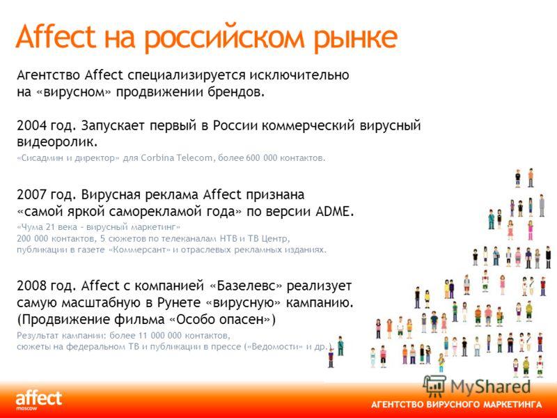 АГЕНТСТВО ВИРУСНОГО МАРКЕТИНГА Affect на российском рынке Агентство Affect специализируется исключительно на «вирусном» продвижении брендов. 2004 год. Запускает первый в России коммерческий вирусный видеоролик. «Сисадмин и директор» для Corbina Telec