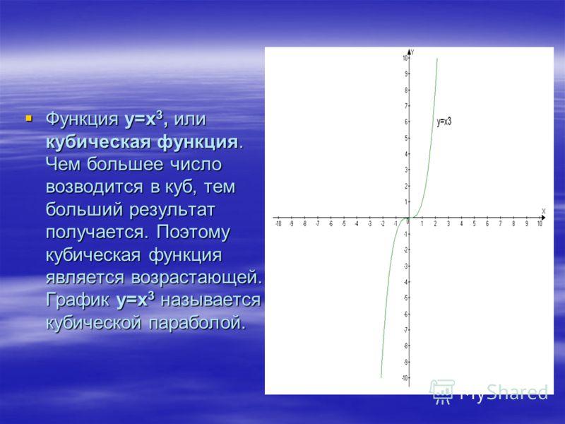 Функция у=х 3, или кубическая функция. Чем большее число возводится в куб, тем больший результат получается. Поэтому кубическая функция является возрастающей. График у=х 3 называется кубической параболой. Функция у=х 3, или кубическая функция. Чем бо