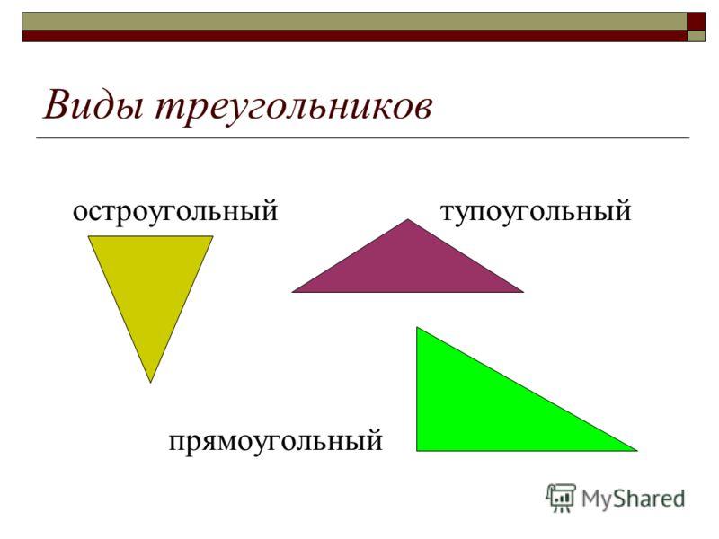 Виды треугольников остроугольный тупоугольный прямоугольный