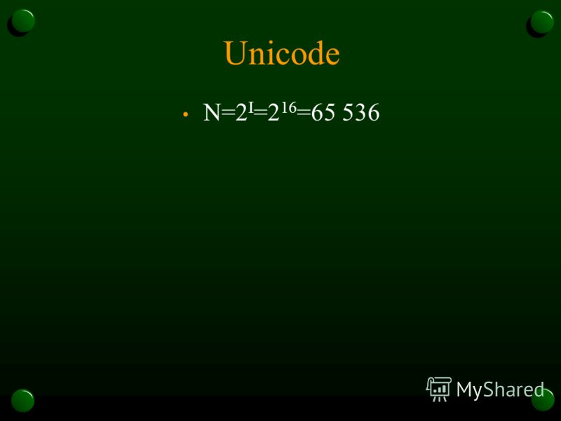 Unicode N=2 I =2 16 =65 536