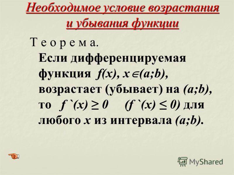 Необходимое условие возрастания и убывания функции Т е о р е м а. Если дифференцируемая функция f(x), х (а;b), возрастает (убывает) на (а;b), то f `(x) 0 (f `(x) 0) для любого х из интервала (а;b).