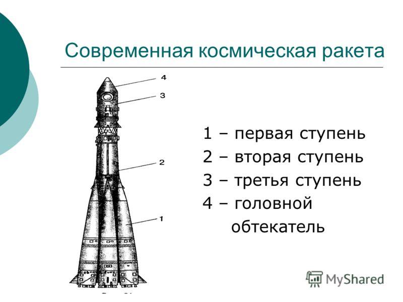 Современная космическая ракета 1 – первая ступень 2 – вторая ступень 3 – третья ступень 4 – головной обтекатель