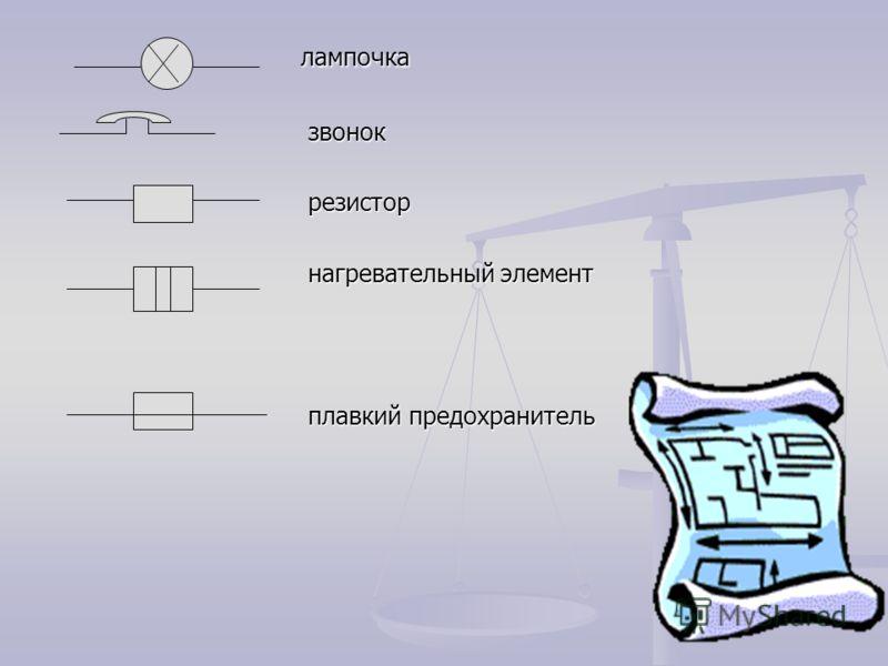 лампочка лампочка звонок звонок резистор резистор нагревательный элемент нагревательный элемент плавкий предохранитель плавкий предохранитель