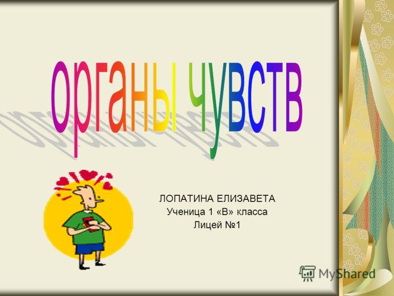 ЛОПАТИНА ЕЛИЗАВЕТА Ученица 1 «В» класса Лицей 1