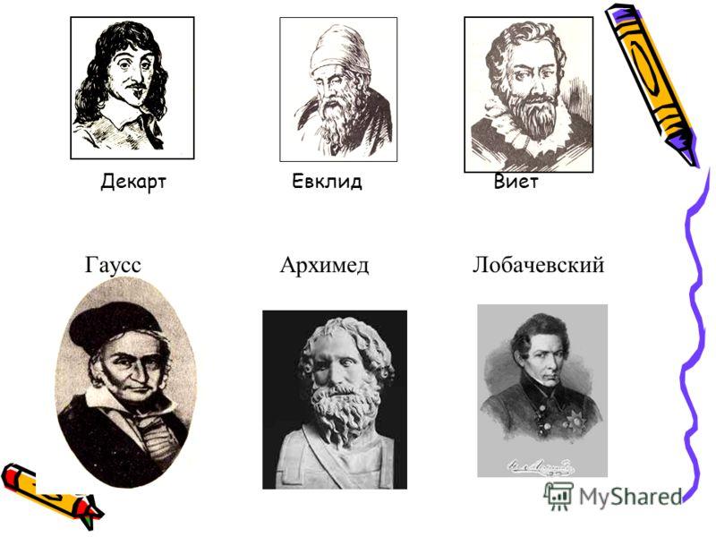 Декарт Евклид Виет Гаусс Архимед Лобачевский