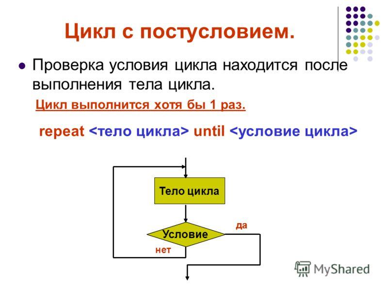 Цикл с постусловием. Проверка условия цикла находится после выполнения тела цикла. Цикл выполнится хотя бы 1 раз. repeat until Тело цикла Условие да нет Тело цикла Условие да Тело цикла Условие да Тело цикла Условие да Тело цикла Условие