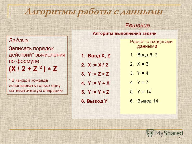 9 Задача: Записать порядок действий* вычисления по формуле: (X / 2 + Z 2 ) Z * В каждой команде использовать только одну математическую операцию Алгоритмы работы с данными Решение. Алгоритм выполнения задачи Z 2 Y X/2 + Z 2 Y (X/2 + Z 2 ) Z Y X / 2 X