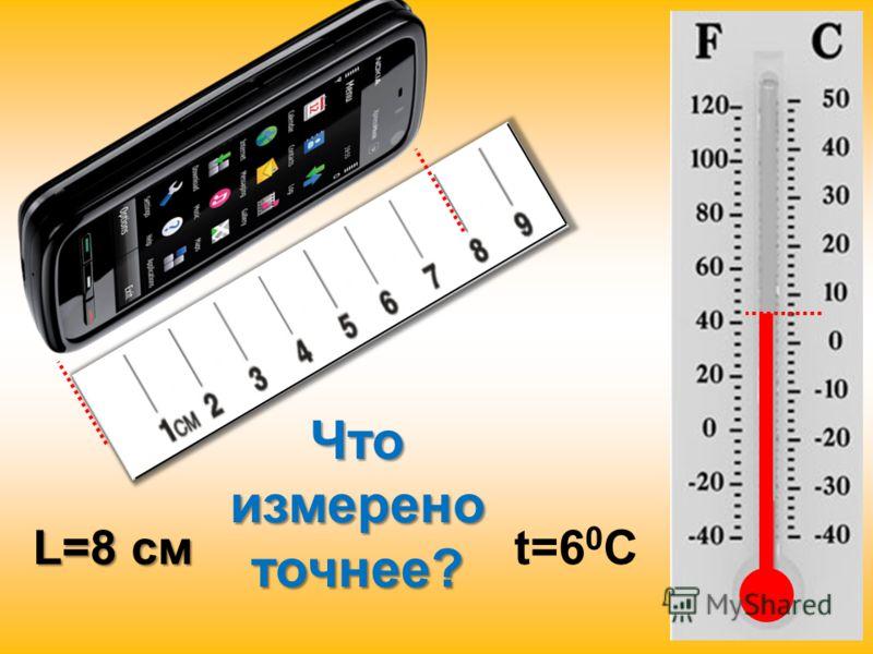 Что измерено точнее? L=8 см t=6 0 C