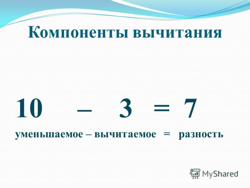 Компоненты вычитания 10 – 3 = 7 уменьшаемое – вычитаемое = разность