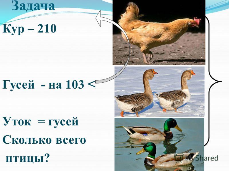 Задача Кур – 210 Гусей - на 103 < Уток = гусей Сколько всего птицы?