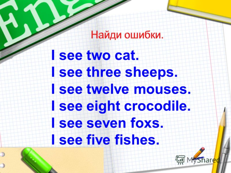 I see two cat. I see three sheeps. I see twelve mouses. I see eight crocodile. I see seven foxs. I see five fishes.
