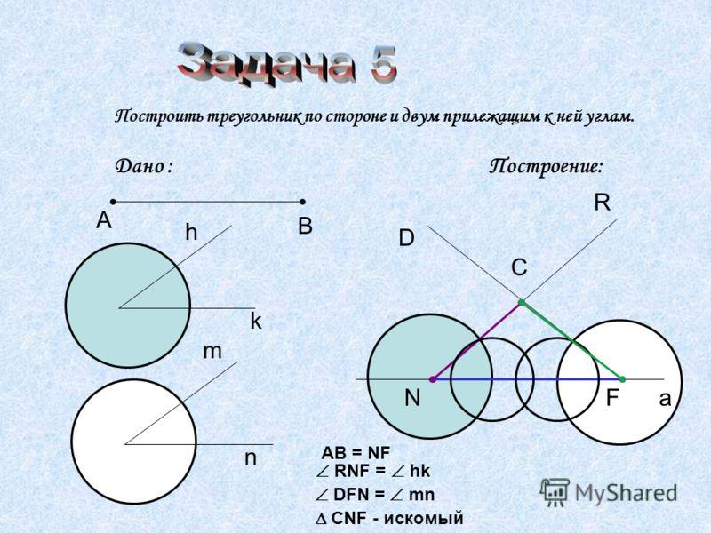 Построить треугольник по стороне и двум прилежащим к ней углам. Дано : Построение: А В h k m n a NF AB = NF R RNF = hk D DFN = mn C CNF - искомый