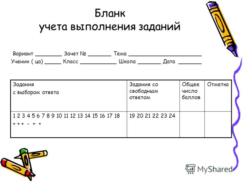 Бланк учета выполнения заданий Вариант ________ Зачет _______ Тема ______________________ Ученик ( ца) _____ Класс ___________ Школа _______ Дата _______ Задания с выбором ответа Задания со свободным ответом Общее число баллов Отметка 1 2 3 4 5 6 7 8