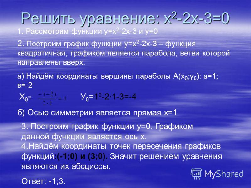 Решить уравнение: х 2 -2х-3=0 1. Рассмотрим функции у=х 2 -2х-3 и у=0 2. Построим график функции у=х 2 -2х-3 – функция квадратичная, графиком является парабола, ветви которой направлены вверх. а) Найдём координаты вершины параболы А(х 0 ;у 0 ): а=1;