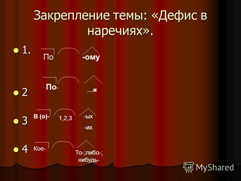 Закрепление темы: «Дефис в наречиях». 1. 1. 2 3 4 По -ому 1,2,3 В (о)- -ых -их Кое- То-;либо-; нибудь- По - …и
