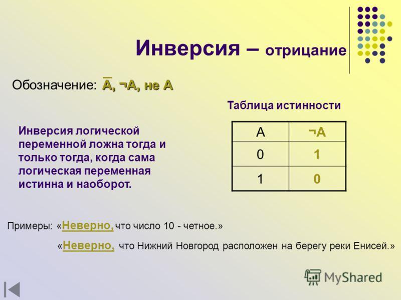 Инверсия – отрицание A, ¬A, не А Обозначение: A, ¬A, не А Инверсия логической переменной ложна тогда и только тогда, когда сама логическая переменная истинна и наоборот. А¬A¬A 01 10 Таблица истинности Примеры: « Неверно, что число 10 - четное.» « Нев