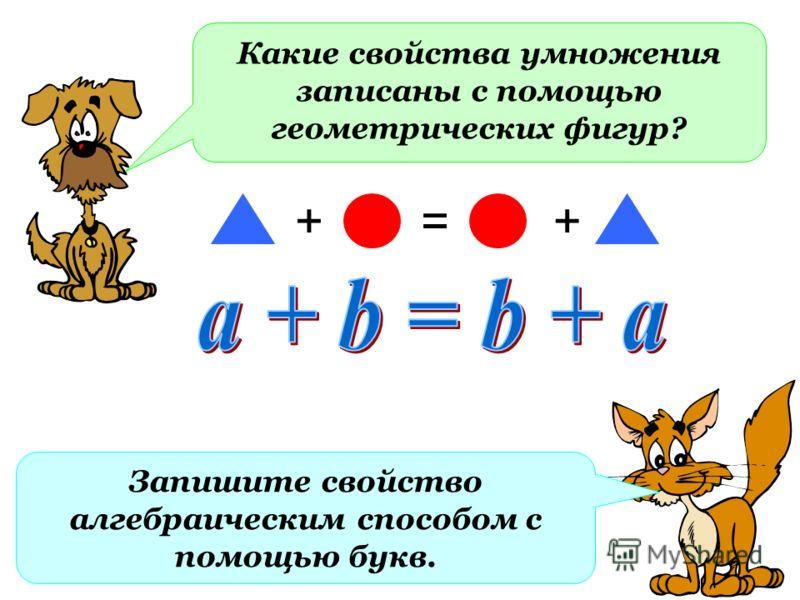 Какие свойства умножения записаны с помощью геометрических фигур? +=+ Запишите свойство алгебраическим способом с помощью букв.