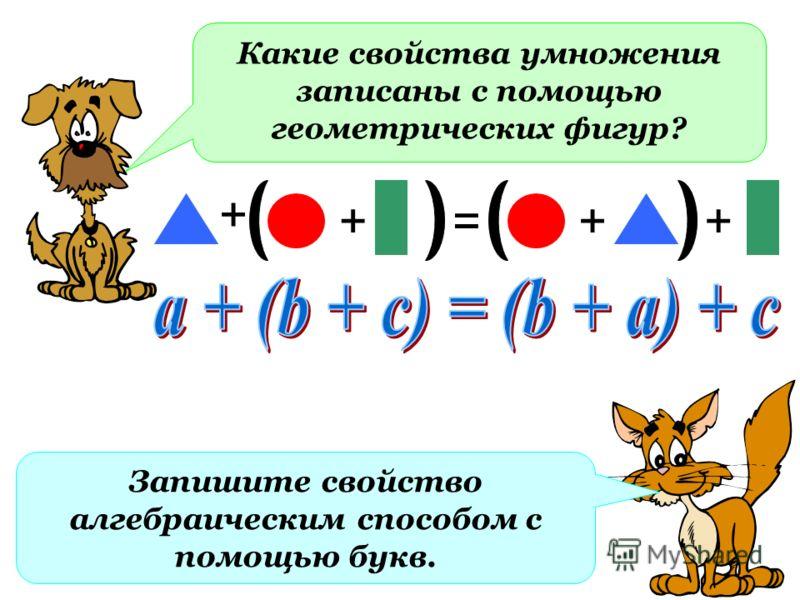 Какие свойства умножения записаны с помощью геометрических фигур? + =+ Запишите свойство алгебраическим способом с помощью букв. ++