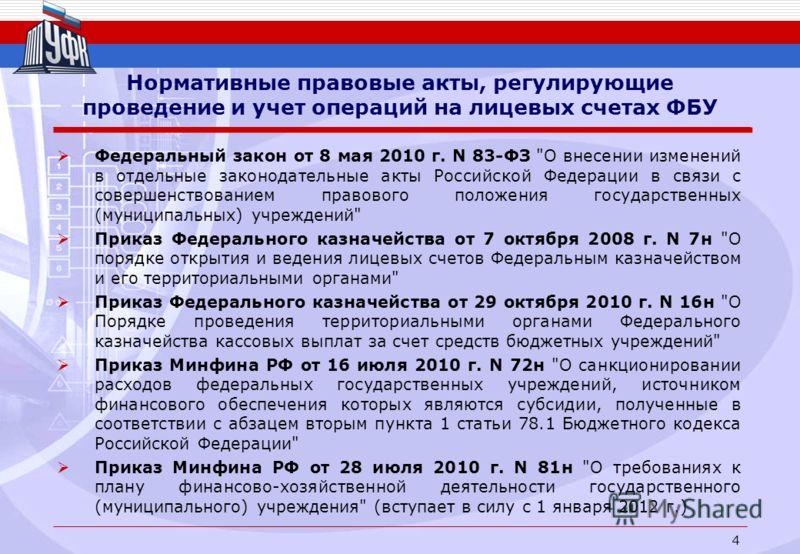 Нормативные правовые акты, регулирующие проведение и учет операций на лицевых счетах ФБУ Федеральный закон от 8 мая 2010 г. N 83-ФЗ