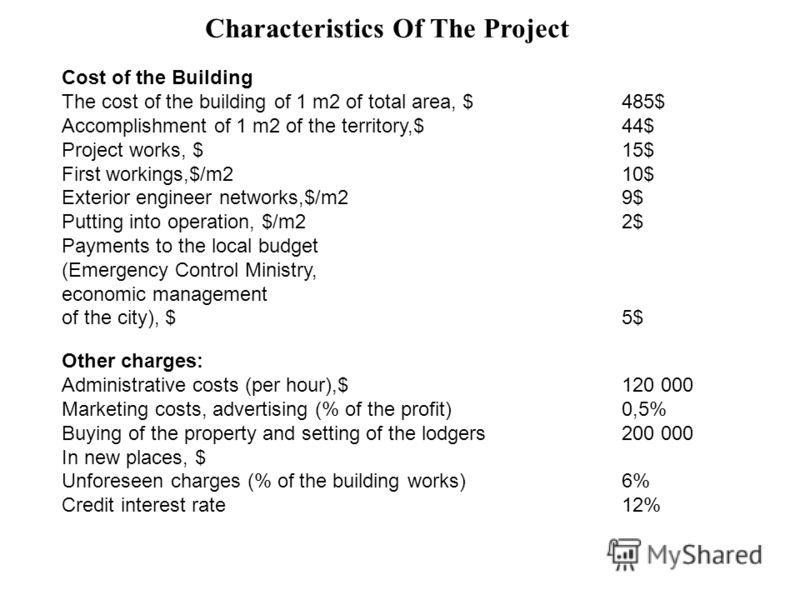 Characteristics Of The Project Cost of the Building The cost of the building of 1 m2 of total area, $485$ Accomplishment of 1 m2 of the territory,$44$ Project works, $15$ First workings,$/m210$ Exterior engineer networks,$/m29$ Putting into operation